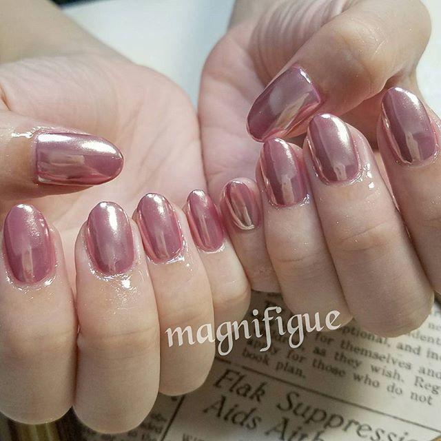 ピンクミラーネイル | 大人の艶感。うるっと質感なセクシー指先の作り方