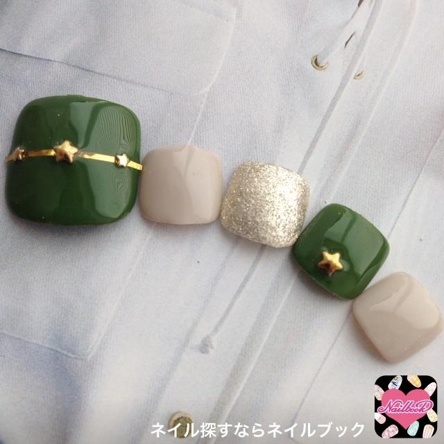 Nail_eyelash_luxuryさんの緑,フット,秋ネイル♪[1124727]|ネイルブック (483865)