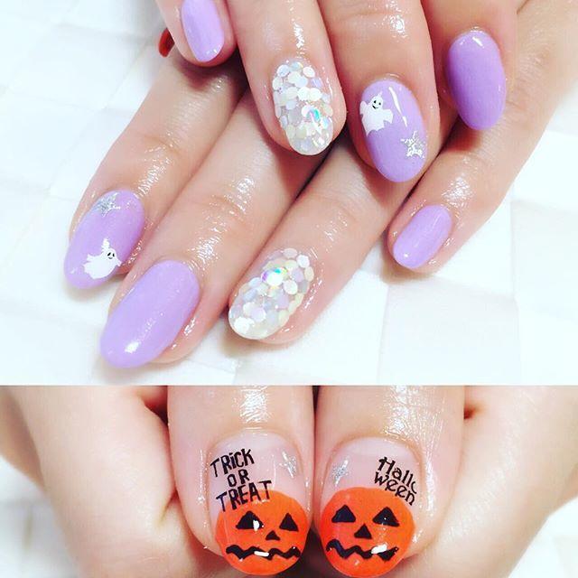 親指にある、かぼちゃを強調したデザイン。