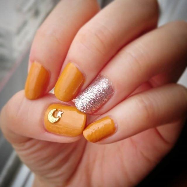 オレンジカラー+シルバーラメ♡