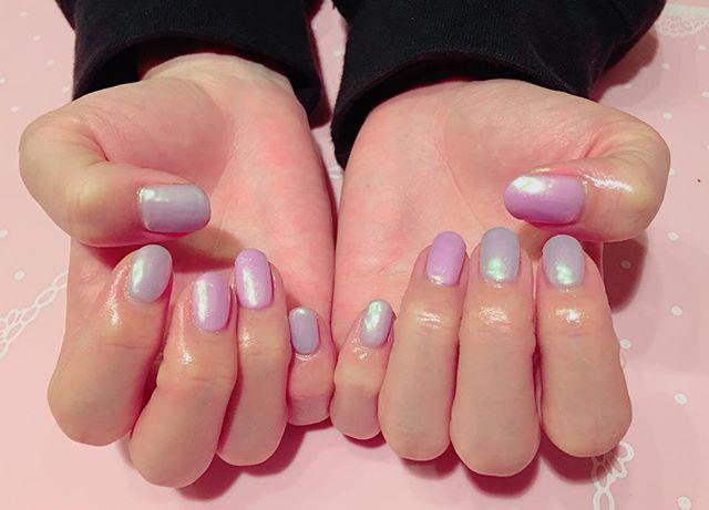 パープルカラー+ピンクカラーのネイル!