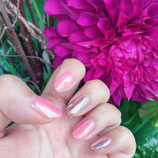 ピンク+シルバーのシンプル簡単ネイル◎
