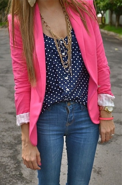 Pink and polka dots   We Heart It   fashion, pink, and outfit (511034)