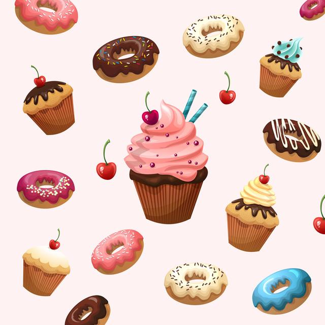 [フリーイラスト素材] イラスト, お菓子 / スイーツ / デザート, カップケーキ, ドーナツ, ケーキ, 食べ物 / 食料, EPS ID:201407130700 - GATAG|フリーイラスト素材集 (483715)
