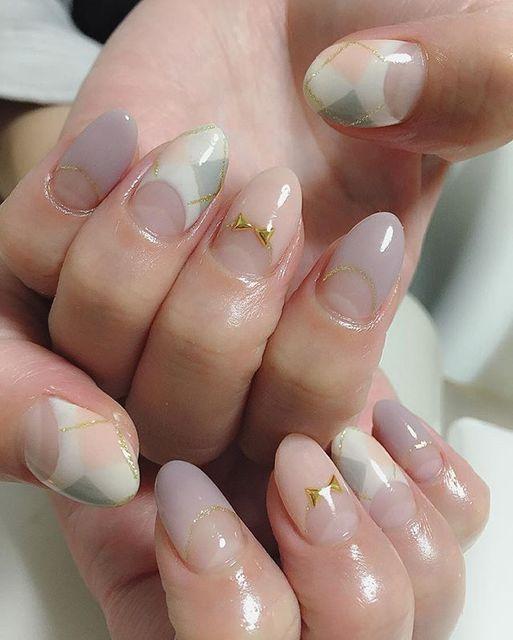 アーガイル柄+フレンチネイル♡