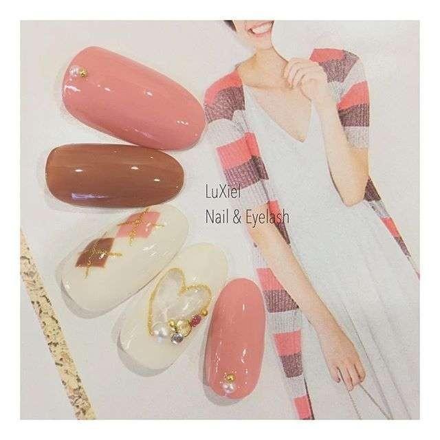 ピンクカラー+ローズブラウンが今期っぽい*