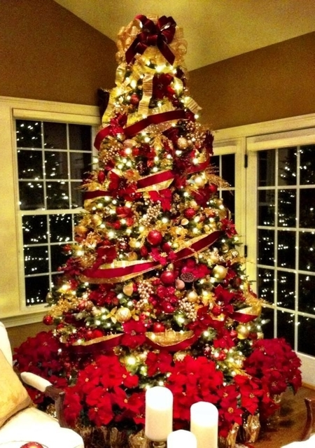 Brilliant   Christmas Trees Decorated In Red And Gold | Christmas Moment (516913)