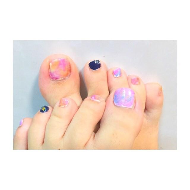 ピンク+パープルのフットネイル♥︎