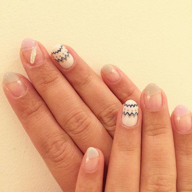ホワイトカラー+フレンチネイル*
