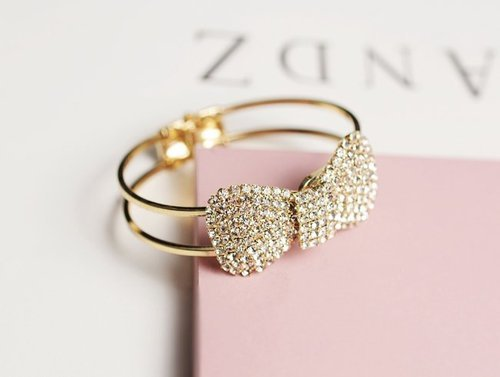 Bow Adjustable Bracelet   We Heart It   ring, bow, and gold (519618)